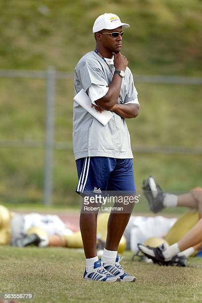 UCLA football coach Karl Dorrell is photographed at practice at Cal State Fullerton