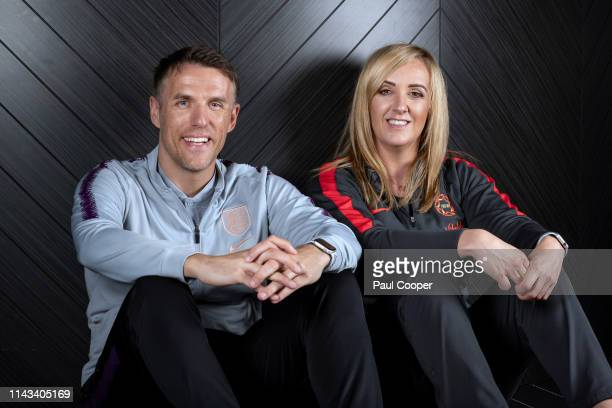 Football coach Phil Neville and his twin sister Tracey a netball coach are photographed for the Telegraph on April 18 2019 in Manchester England
