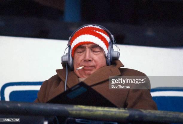 Football commentator Hugh Johns circa 1974