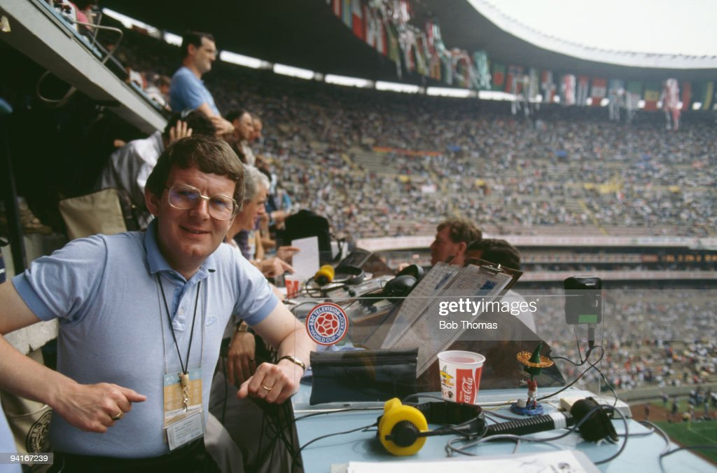BBC TV football commentator John Motson at the Estadio Azteca in Mexico City, Mexico, during the opening ceremony of the 1986 FIFA World Cup, 31st May 1986.