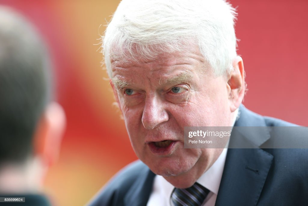 Football commentator John Motson looks on prior to the Sky Bet League One match between Charlton Athletic and Northampton Town at The Valley on August 19, 2017 in London, England.