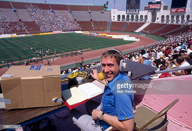 Football Commentator Martin Tyler in his seat at the Los Angeles Coliseum Stadium prior to the friendly International match between Mexico and...