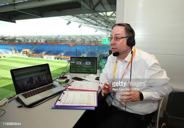 Football commentator Steve Banyard looks on prior to the 2019 FIFA U20 World Cup Round of 16 match between Japan and Korea Republic at Lublin Stadium...