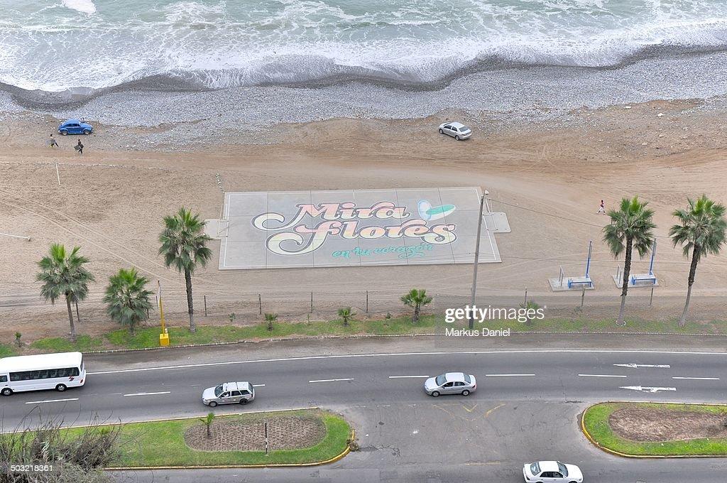 Football (Soccer) court at Miraflores Beach : Stock Photo
