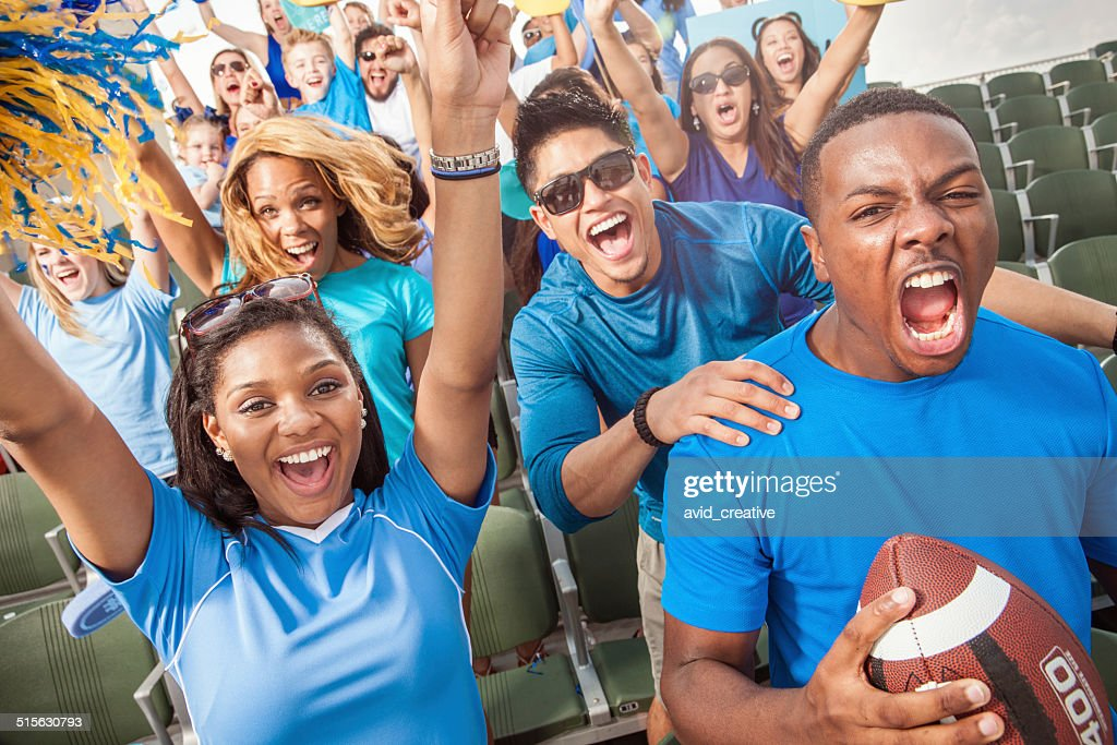 Football Crowd Cheering For Their Sports Team : Stock Photo