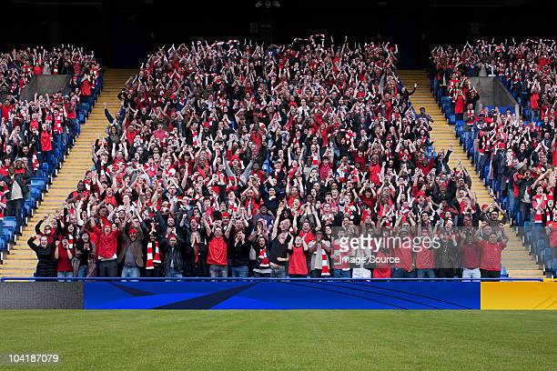football crowd in stadium - cheering stock pictures, royalty-free photos & images