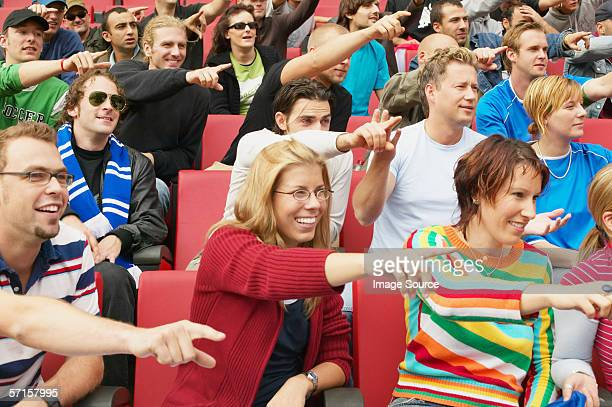 Football crowd pointing