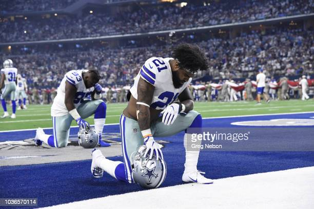 Dallas Cowboy Ezekiel Elliott down on one knee before game vs New York Giants at ATT Stadium Media Arlington TX CREDIT Greg Nelson