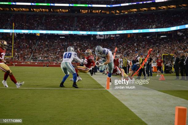 Dallas Cowboys Blake Jarwin in action diving towards endzone vs San Francisco 49ers during preseason game at Levi's Stadium The play was ruled not to...