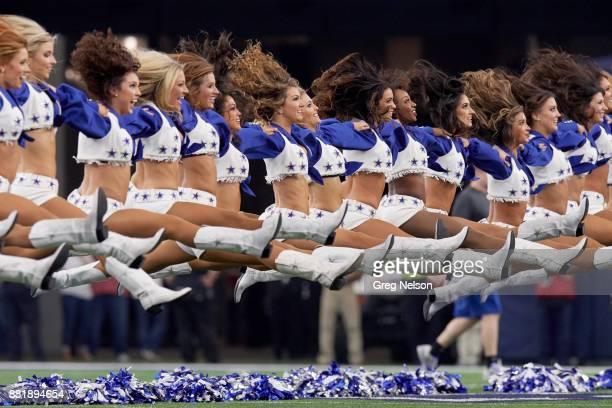 Dallas Cowboys cheerleaders performing on field during game vs Los Angeles Chargers at ATT Stadium Arlington TX CREDIT Greg Nelson
