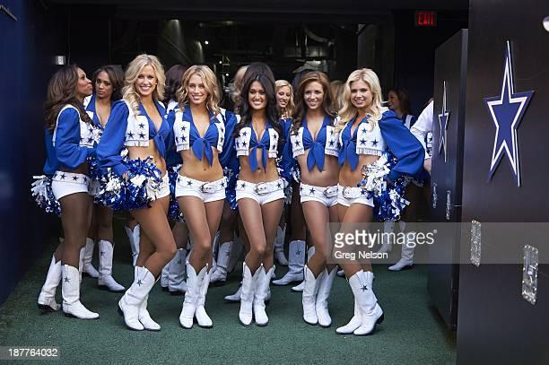 Dallas Cowboys cheerleaders posing in tunnel before game vs Minnesota Vikings at ATT Stadium Arlington TX CREDIT Greg Nelson