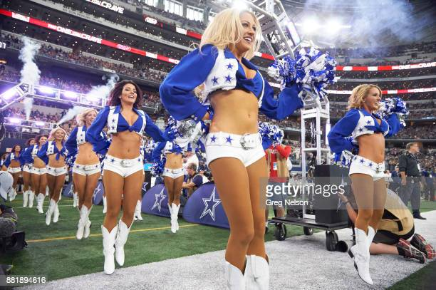 Dallas Cowboys cheerleaders taking field before game vs Los Angeles Chargers at ATT Stadium Arlington TX CREDIT Greg Nelson