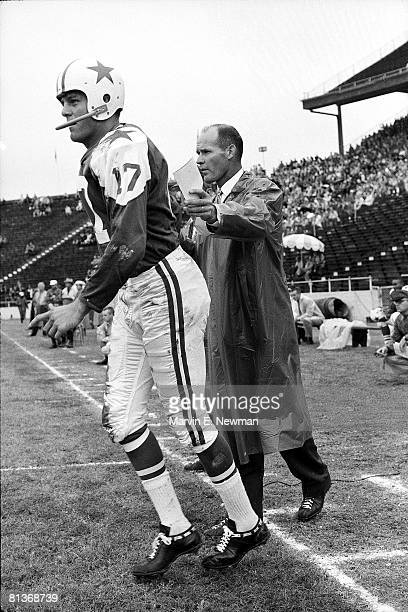 Football Dallas Cowboys coach Tom Landry with QB Don Meredith during game vs St Louis Cardinals Dallas TX