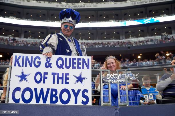 Dallas Cowboys fans in stands with sign that reads KING QUEEN OF THE COWBOYS during game vs Los Angeles Chargers at ATT Stadium Arlington TX CREDIT...