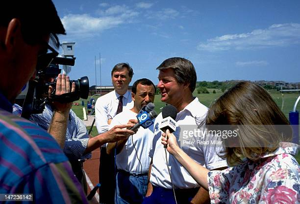 Dallas Cowboys head coach Jimmy Johnson speaks with media after practice at Valley Ranch Cowboys Training Facility Irving TX CREDIT Peter Read Miller