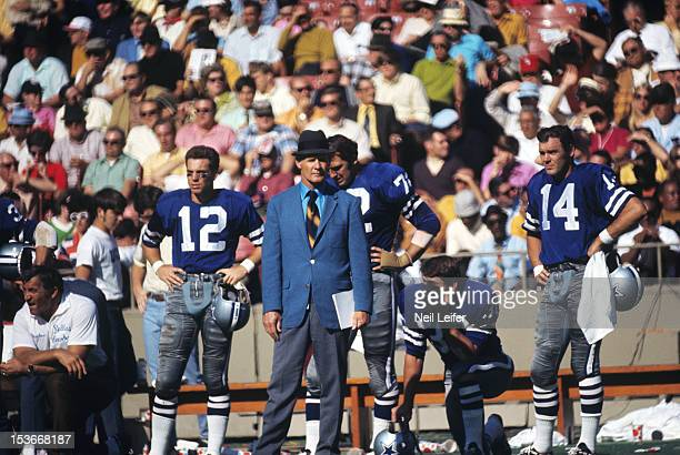 Dallas Cowboys head coach Tom Landry on sidelines during game vs St Louis Cardinals at Busch Memorial Stadium St Louis MO CREDIT Neil Leifer