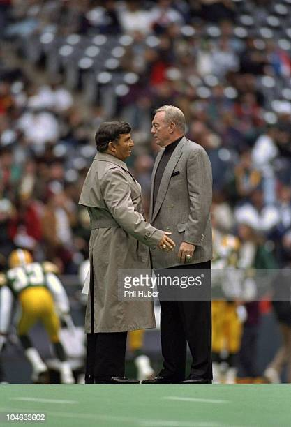 Dallas Cowboys owner Jerry Jones on field with media announcer Hank Stram before game vs Green Bay Packers Irving TX CREDIT Phil Huber