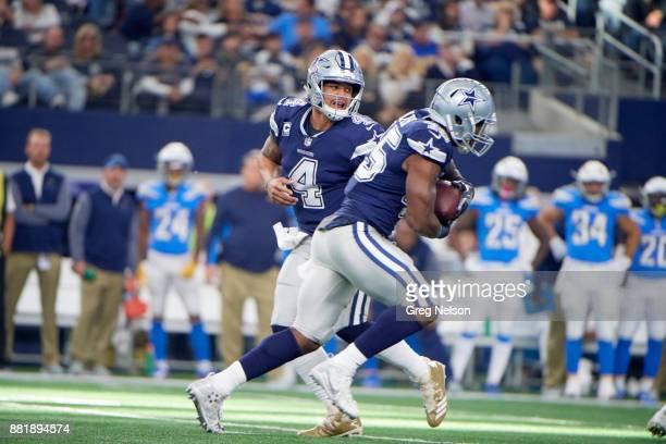 Dallas Cowboys QB Dak Prescott in action handing off to Rod Smith vs Los Angeles Chargers at ATT Stadium Arlington TX CREDIT Greg Nelson
