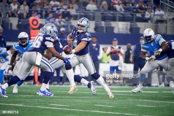 Dallas Cowboys QB Dak Prescott in action handing off to Alfred Morris vs Los Angeles Chargers at ATT Stadium Arlington TX CREDIT Greg Nelson