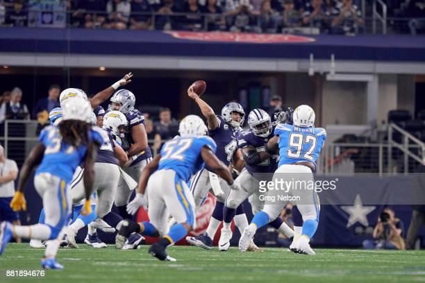 Dallas Cowboys QB Dak Prescott in action passing vs Los Angeles Chargers at ATT Stadium Arlington TX CREDIT Greg Nelson