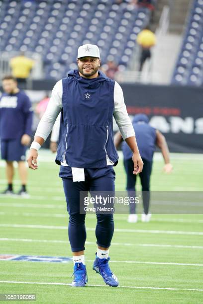 Dallas Cowboys QB Dak Prescott warming up before game vs Houston Texans at NRG Stadium Houston TX CREDIT Greg Nelson
