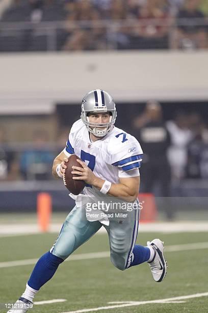Dallas Cowboys QB Stephen McGee in action vs Denver Broncos during preseason game at Cowboys Stadium Arlington TX CREDIT Peter Read Miller