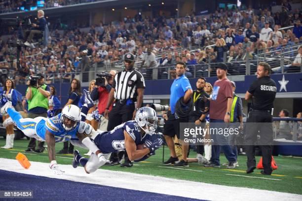 Dallas Cowboys Terrance Williams in action vs Los Angeles Chargers Casey Hayward at ATT Stadium Arlington TX CREDIT Greg Nelson