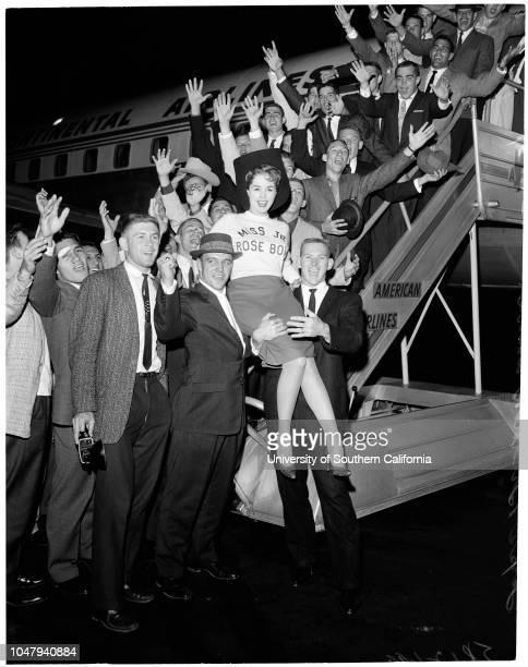 Football Del Mar Junior College arrives for Junior Rose Bowl 8 December 1959 Kathy Kersh Miss Junior Rose Bowl Supplementary material reads 'American...
