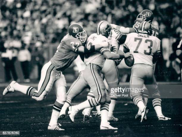 Football Denver Broncos 1987 Game 8 Karl Mecklenburg moves in to sack qb Chuck Long of the lions Credit The Denver Post