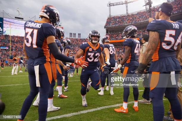 Denver Broncos Andy Janovich during introductions before game vs Kansas City Chiefs at Mile High Stadium Denver CO CREDIT Jamie Schwaberow