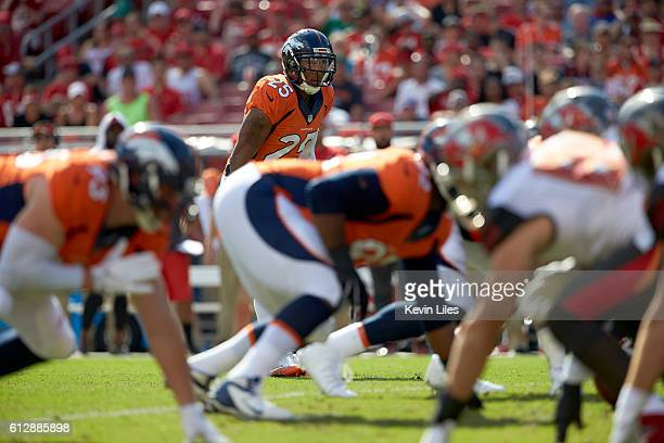 Denver Broncos Chris Harris at line of scrimmage during game vs Tampa Bay Buccaneers at Raymond James Stadium Tampa FL CREDIT Kevin Liles
