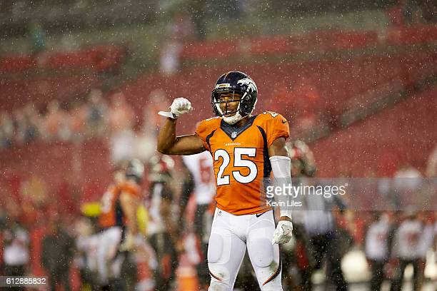 Denver Broncos Chris Harris victorious during game vs Tampa Bay Buccaneers at Raymond James Stadium Tampa FL CREDIT Kevin Liles