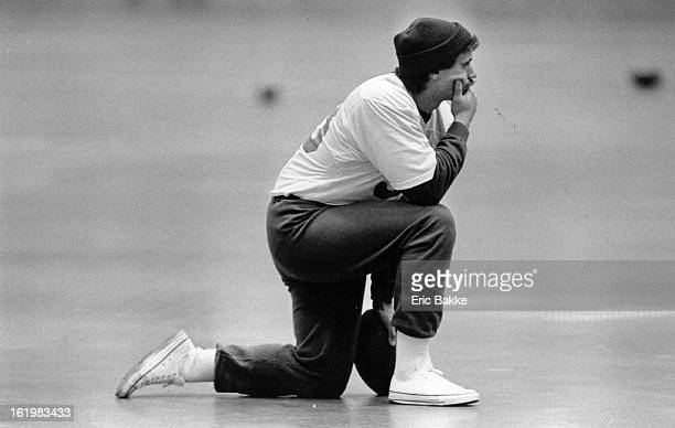 DEC 21 1983 DEC 22 1983 Football Denver Broncos Dean Barnett watches practice quietly From the side Wednesday