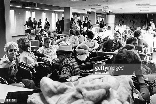 JAN 14 1978 JAN 15 1978 Football Denver Broncos Fans Broncos fans at airport waiting for flight to new Orleans Broncos Fans Wait and Enjoy it Happy...