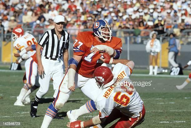 Denver Broncos Lyle Alzado in action vs Kansas City Chiefs Matthew Herkenhoff at Mile High Stadium Denver CO CREDIT Manny Millan