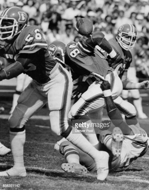 Football Denver Broncos Pop Goes the ball as Broncos' Rick Upchurch is Hit on Kickoff Return Upchurch returned secondhalf kickoff 30 yards but ball...