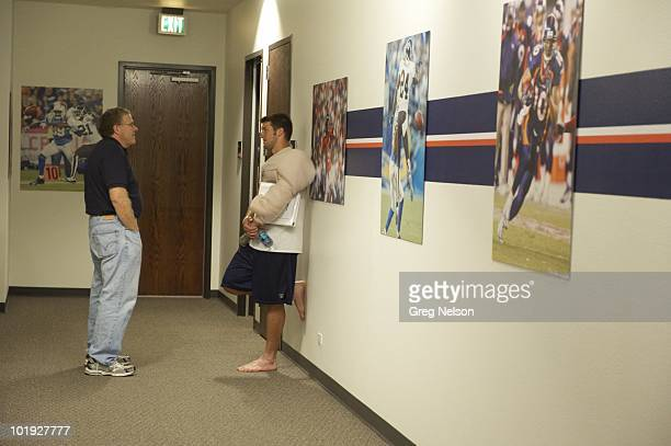 Denver Broncos QB Tim Tebow with Sports Illustrated senior writer Peter King during organized team activities at Bowlen Memorial Centre Englewood CO...