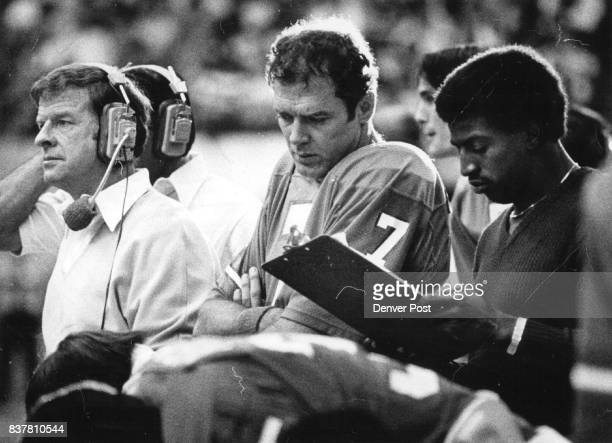 Football Denver Broncos Red Morton Otis ***** From Sidelines Concern Shows On Faces Of Trio Unable To Change Sunday's Outcome Bronco Coach Red Miller...