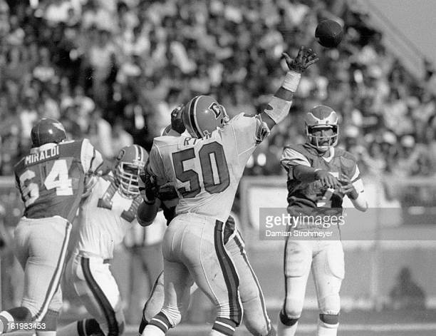 SEP 18 1983 SEP 19 1983 Football Denver Broncos This Ron Jaworski pass to Melvin Hoover did in the Broncos