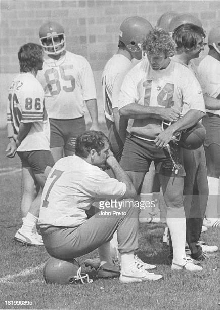 MAY 19 1979 MAY 20 1979 Football Denver Broncos Training Camp Bronco 'Brain Trust' confers during Mini Camp Bronco quarterbacks Norris Weese and...