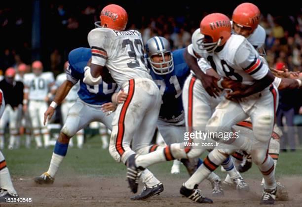 Detroit Lions Alex Karras in action defense vs Cincinnati Bengals Jess Phillips as Paul Robinson carries ball at Tiger Stadium Detroit MI CREDIT...
