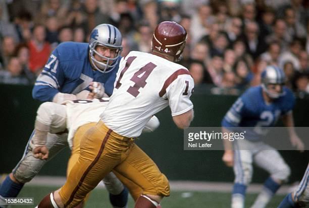 Detroit Lions Alex Karras in action defense vs Washington Redskins QB Dick Shiner at Tiger Stadium Detroit MI CREDIT Neil Leifer