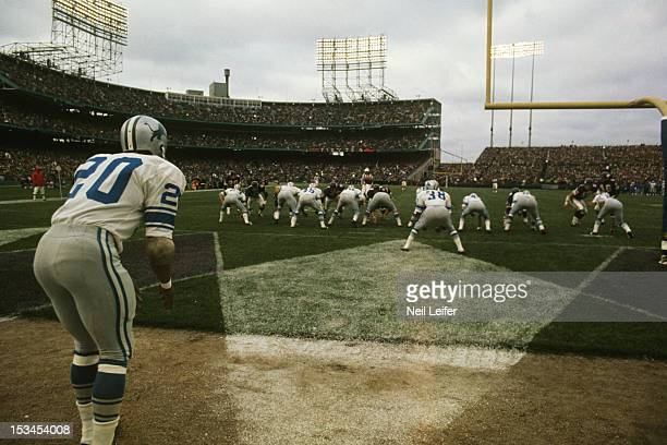 Detroit Lions Lem Barney lined up to punt during game vs Minnesota Vikings at Metropolitan Stadium Sequence Bloomington MN CREDIT Neil Leifer