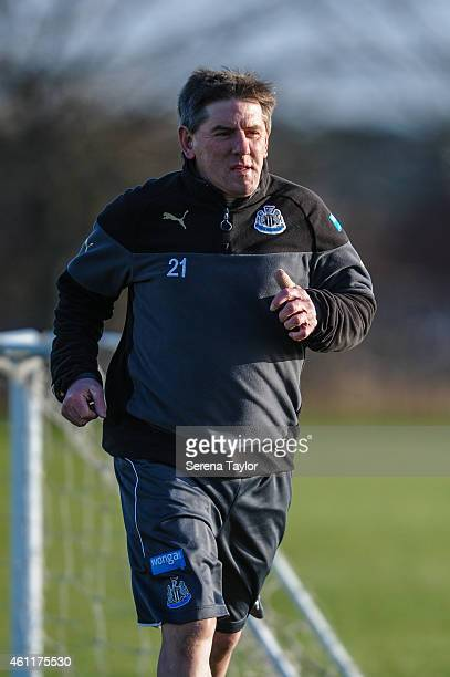 Football Development Officer Peter Beardsley runs on the pitch during a training session at The Newcastle United Training Centre on January 08 in...