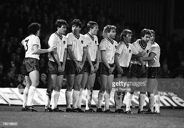 Football Division One 11th December 1982 Ipswich Town 0 v Everton 2 Everton players form a defensive wall at a freekick LR John Bailey Kevin...