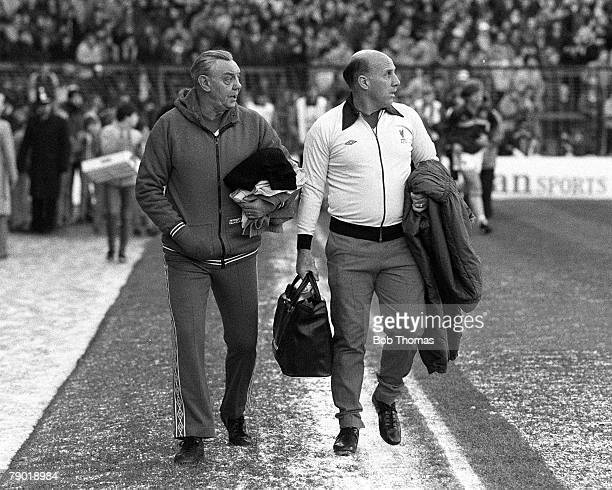 Football, Division One, 18th December 1982, Aston Villa 2 v Liverpool 4, Liverpool's Assistant Manager Joe Fagan with Trainer Ronnie Moran
