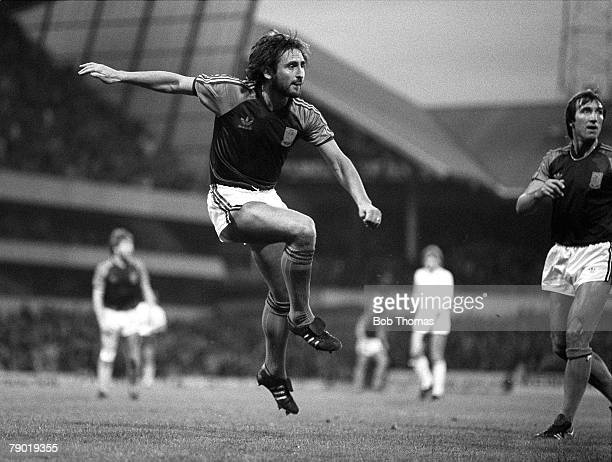 Football Division One 20th November 1982 Tottenham Hotspur 2 v West Ham United 1 West Ham's Frank Lampard fires in a shot watched by teammate Billy...