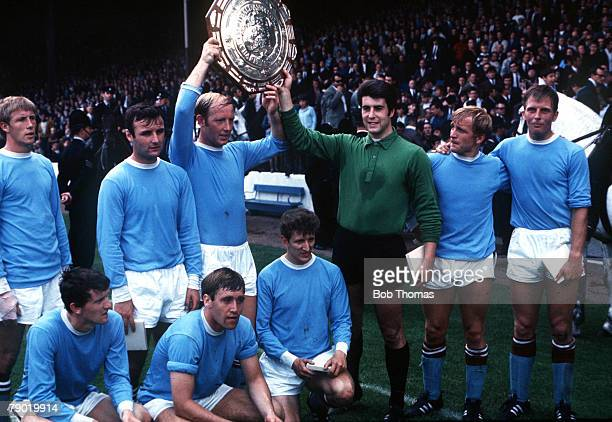 Football Division One champions Manchester City celebrate after winning the Charity Shield at Wembley