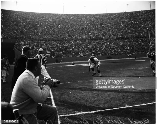Football East West Pro Bowl 12 January 1958 'Sports' Caption slip reads 'Photographer Monteverde Date Assignment Pro Bowl 1st quarter59 Pass Tittle...
