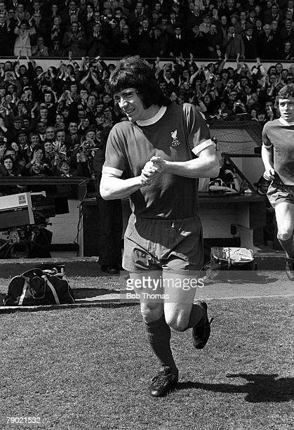 Football England League Division One 28th April 1973 Liverpool 0 v Leicester City 0 Liverpool's Kevin Keegan walks out onto the pitch at Anfield...